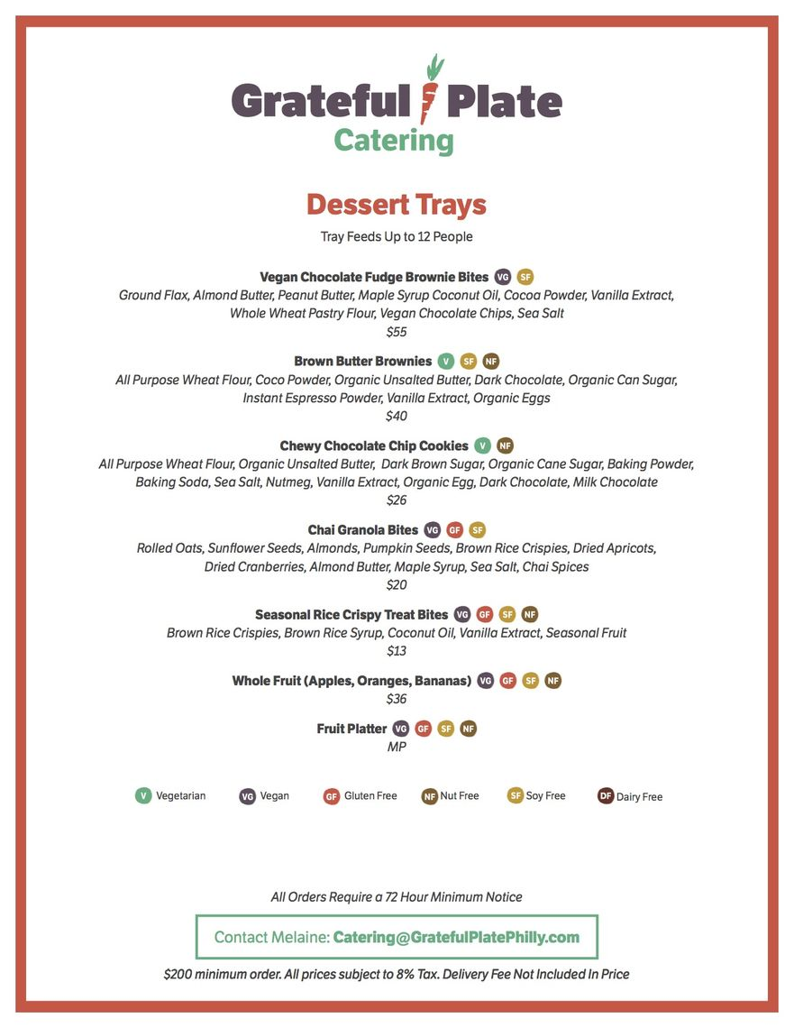 grateful plate catering menus a la carte page 4 of 4