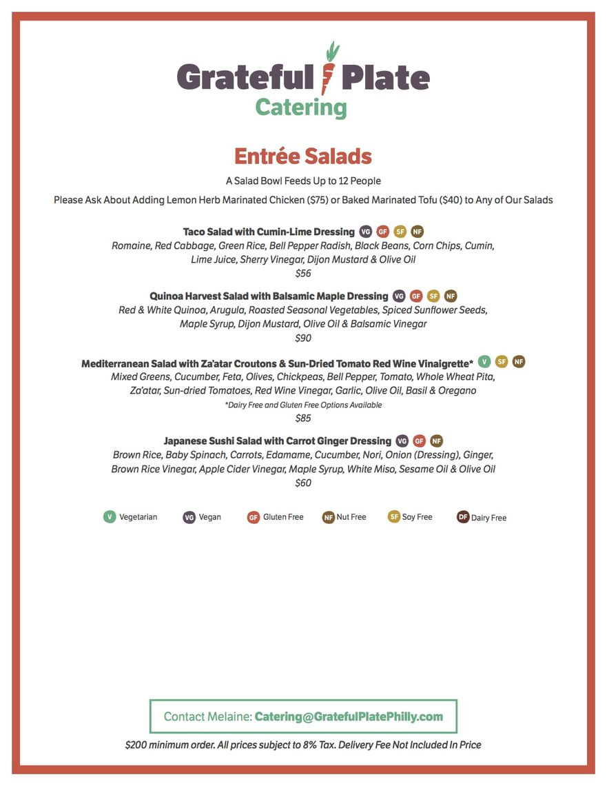 grateful plate catering menus a la carte page 3 of 4
