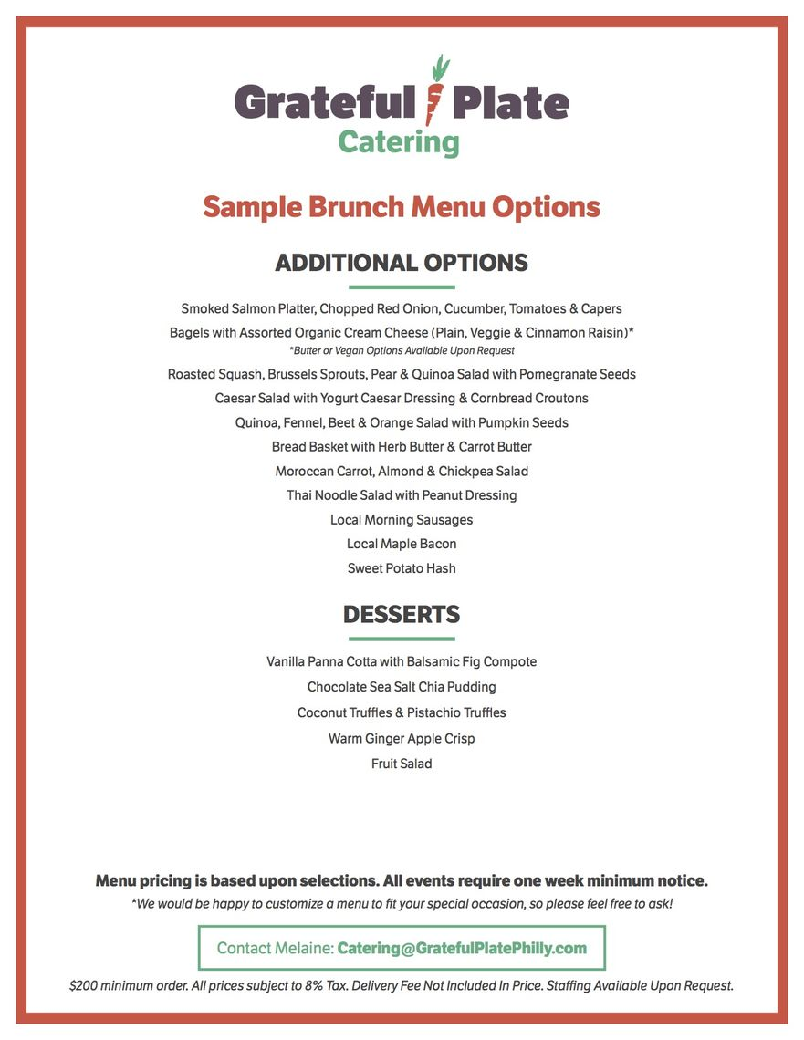 grateful plate catering menus brunch page 2 of 2