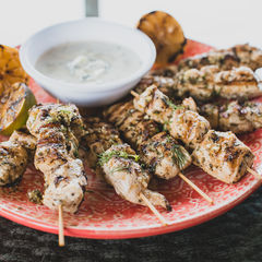 Chicken Skewers with Lemon and Herbs with Tzatziki Sauce