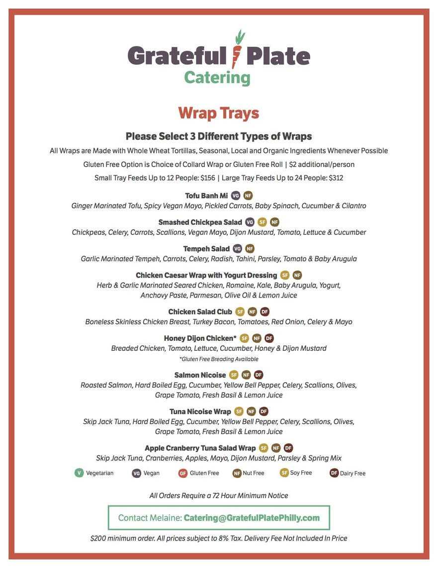 grateful plate catering menus a la carte page 1 of 4