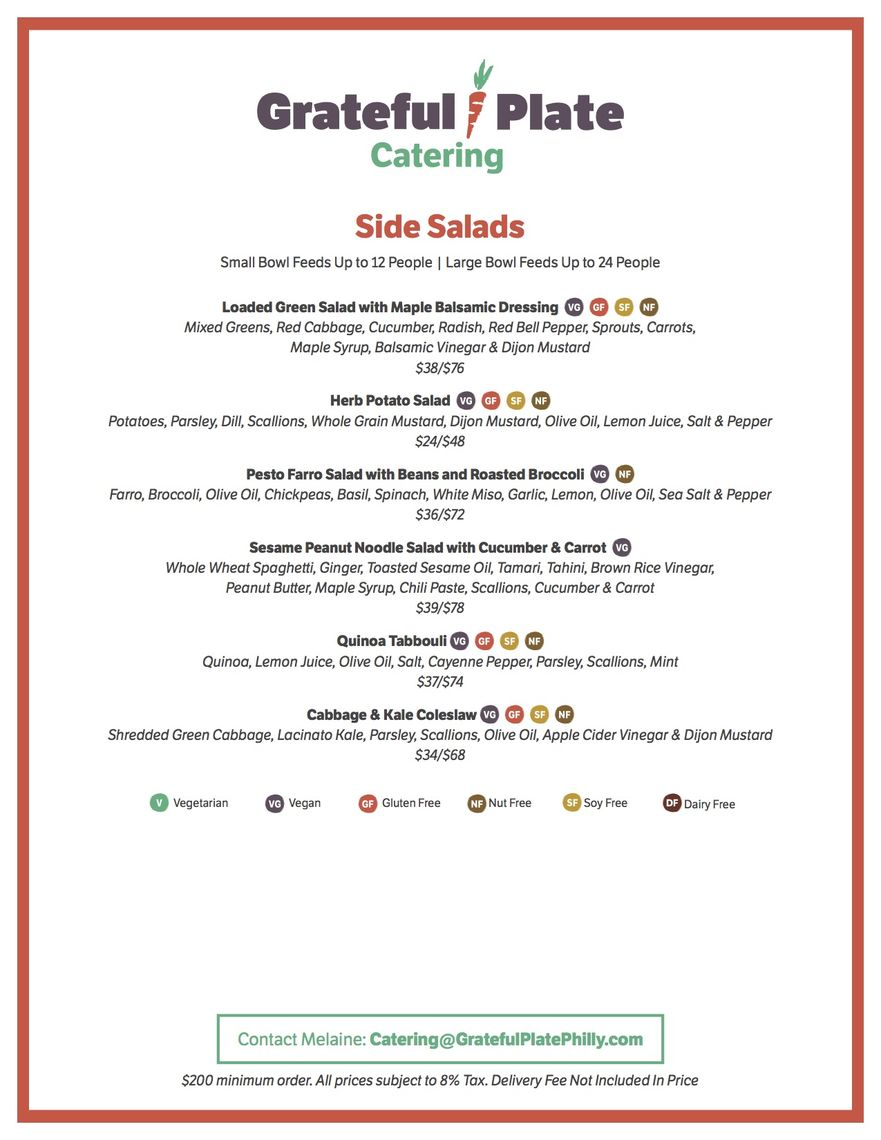 grateful plate catering menus a la carte page 2 of 4