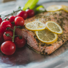Salmon Lemon and Herb Marinated Salmon with Cherry Tomatoes